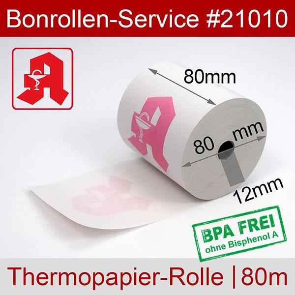 Detailansicht mit Rollenmaßen - Apotheken-Thermorollen, BPA-frei 80 / 80m / 12 für Posbank A10-NB