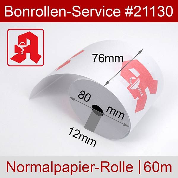 Detailansicht mit Rollenmaßen - Apothekenrollen, weiß, mit rotem Apotheken-A auf Vorderseite - 76 / 80 / 12 für Epson TM-U 220 PD