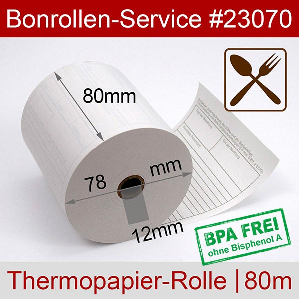 Detailansicht mit Rollenmaßen - Thermorollen mit Bewirtungsbeleg, BPA-frei 80 / 80m / 12 für Epson TM-T 88 V (012)