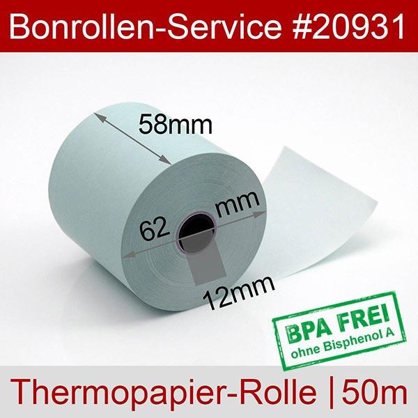 Detailansicht mit Rollenmaßen - Blaue Thermorollen / Kassenrollen, BPA-frei 58 / 50m / 12 für Olivetti ECR 6700
