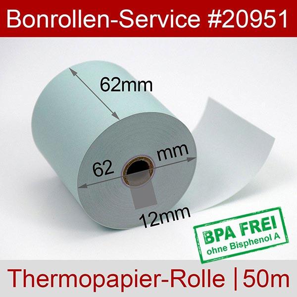 Detailansicht mit Rollenmaßen - Blaue Thermorollen / Kassenrollen, BPA-frei 62 / 50m / 12 für