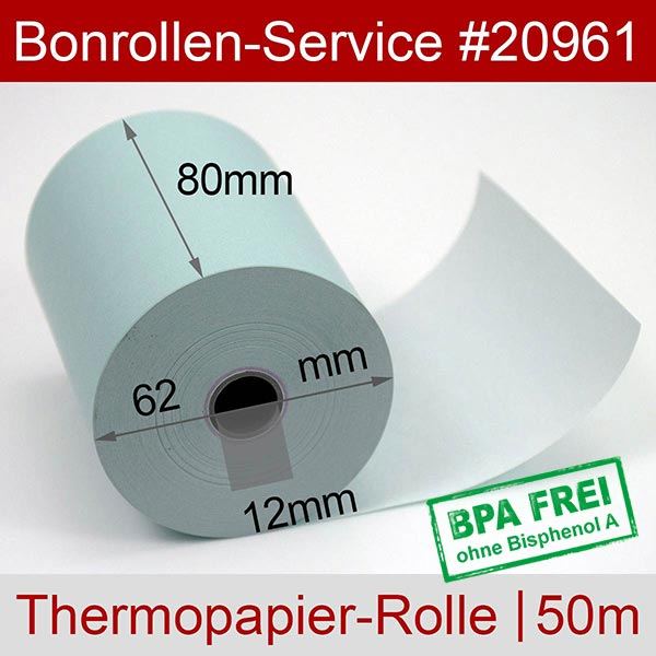 Detailansicht mit Rollenmaßen - Blaue Thermorollen / Kassenrollen, BPA-frei 80 / 50m / 12 für OKI OKIPOS 412E