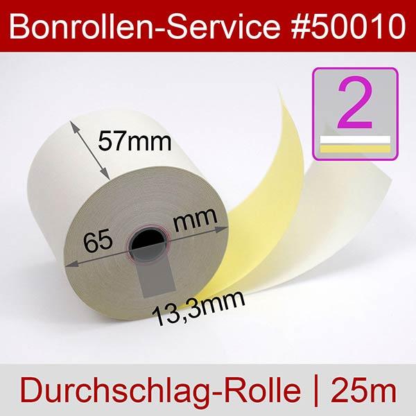 Detailansicht mit Rollenmaßen - Bonrollen / Kassenrollen, doppellagig, cb/cf (weiß/gelb), 57 / 25m / 13,3 für