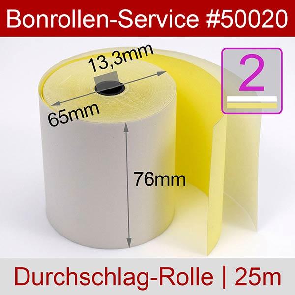 Detailansicht mit Rollenmaßen - Bonrollen / Kassenrollen, doppellagig, cb/cf (weiß/gelb), 76 / 25m / 13,3 für Citizen DP-330