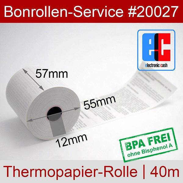 Detailansicht mit Rollenmaßen - EC-Cash-Rollen, mit SEPA-Text auf Rückseite, BPA-frei 57 / 40m / 12 für Epson TM-m10