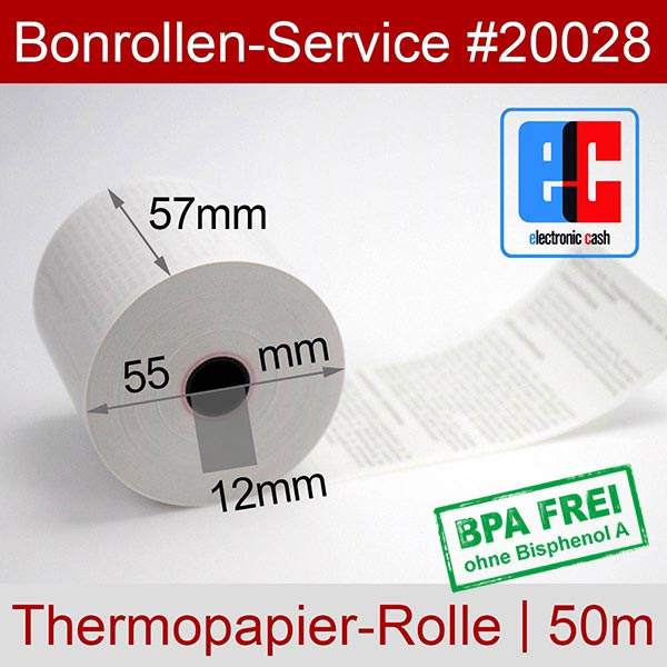 Detailansicht mit Rollenmaßen - EC-Cash-Rollen, mit SEPA-Text auf Rückseite, BPA-frei 57 / 50m / 12 für Hypercom H5000