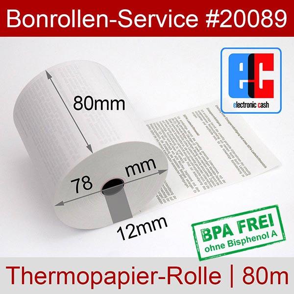 Detailansicht mit Rollenmaßen - EC-Cash-Rollen, mit SEPA-Text auf Rückseite, BPA-frei 80 / 80m / 12 für Epson TM-T20II