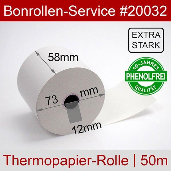 Detailansicht mit Rollenmaßen - Extra-starke Thermorollen (Papier: 76g/m²), phenolfrei 58 / 50m / 12 für Multi-Data ECR 116