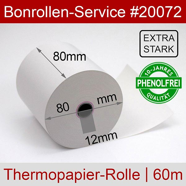 Detailansicht mit Rollenmaßen - Extra-starke Thermorollen (Papier: 76g/m²), phenolfrei 80 / 80 / 12 für Quorion QTouch 2