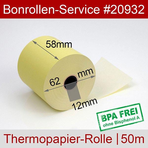 Detailansicht mit Rollenmaßen - Gelbe Thermorollen / Kassenrollen, BPA-frei 58 / 50m / 12 für Olivetti NETTUN@3000INTL