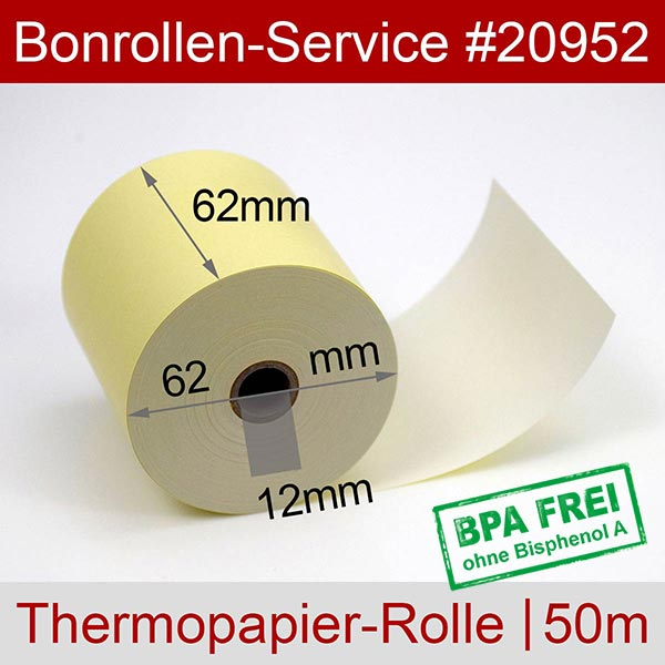Detailansicht mit Rollenmaßen - Gelbe Thermorollen / Kassenrollen, BPA-frei 62 / 50m / 12 für Mettler-Toledo UC3 CT-A