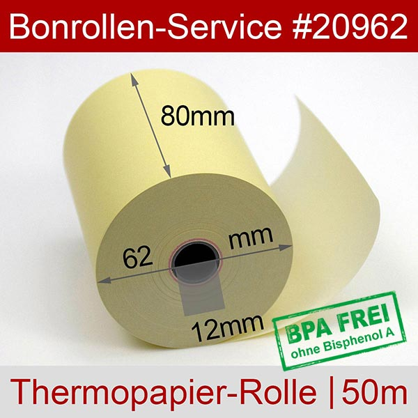 Detailansicht mit Rollenmaßen - Gelbe Thermorollen / Kassenrollen, BPA-frei 80 / 50m / 12 für Posbank A10-NB