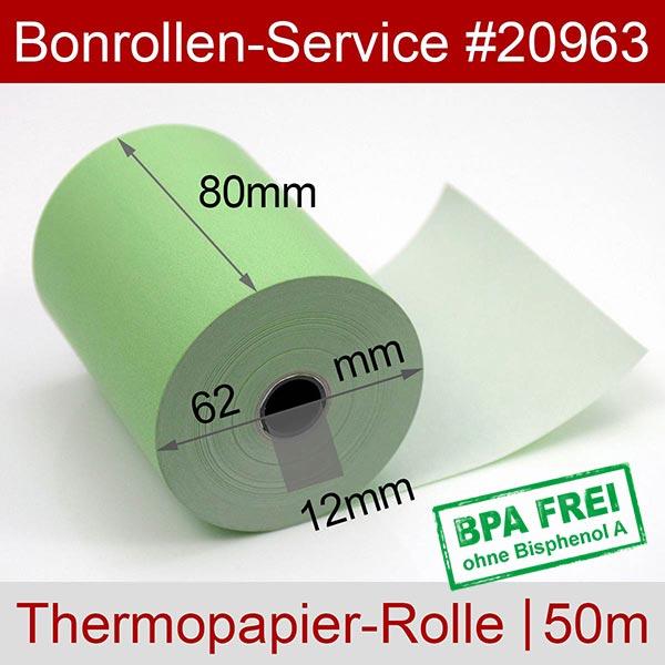 Detailansicht mit Rollenmaßen - Grüne Thermorollen / Kassenrollen, BPA-frei 80 / 50m / 12 für Posbank A10-NB