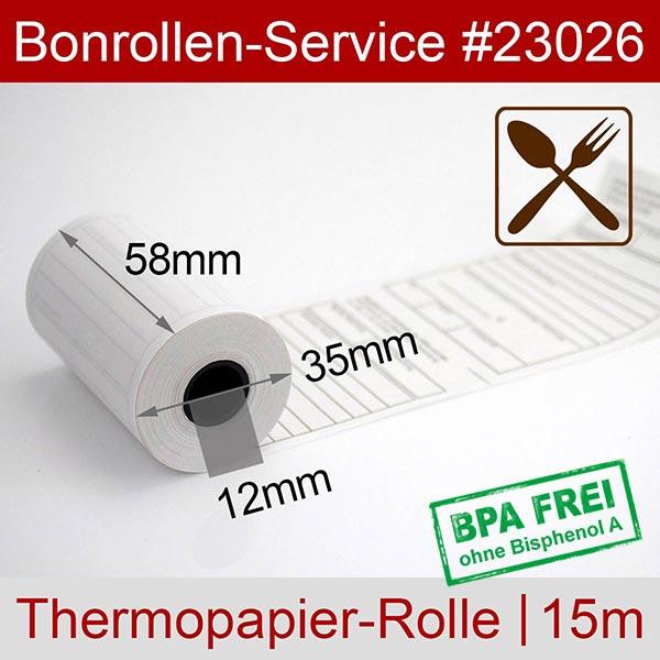 Detailansicht mit Rollenmaßen - Thermorollen mit Bewirtungsbeleg, BPA-frei 58 / 15m / 12 für Bixolon SPP-R200IIIBKL/BEG