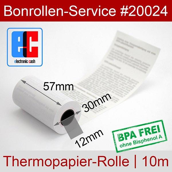 Detailansicht mit Rollenmaßen - EC-Cash-Rollen, mit SEPA-Text auf Rückseite, BPA-frei 57 / 10m / 12 für REA-Card REA Xentissimo