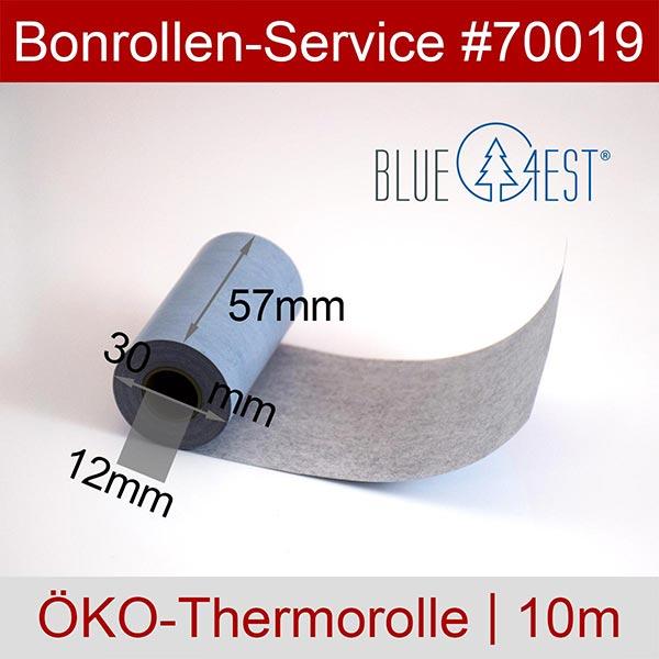 Detailansicht mit Rollenmaßen - Öko-Thermorollen, Blue4est® 57 / 10m / 12 für Futrex 6100/XL