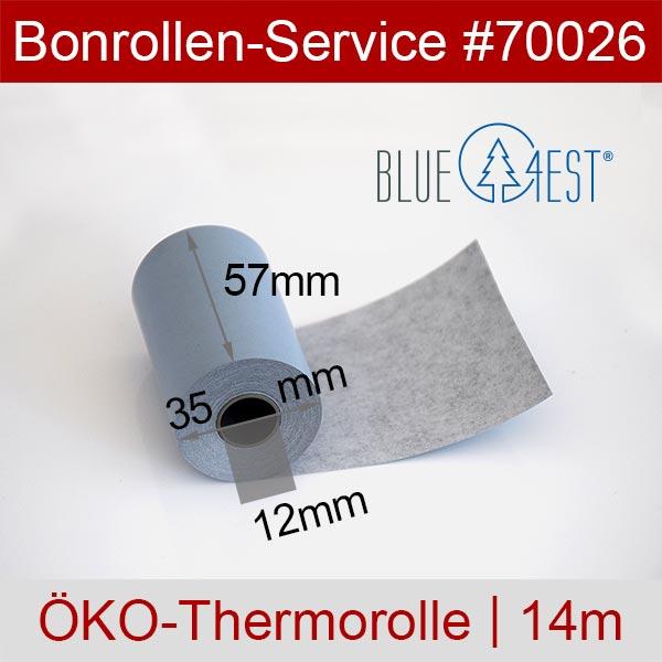Detailansicht mit Rollenmaßen - Öko-Thermorollen, Blue4est® 57 / 14m / 12 für Munbyn IMP017