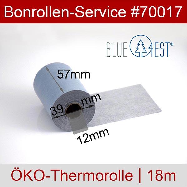 Detailansicht mit Rollenmaßen - Öko-Thermorollen, Blue4est® 57 / 18m / 12 für REA-Card REA T6 flex