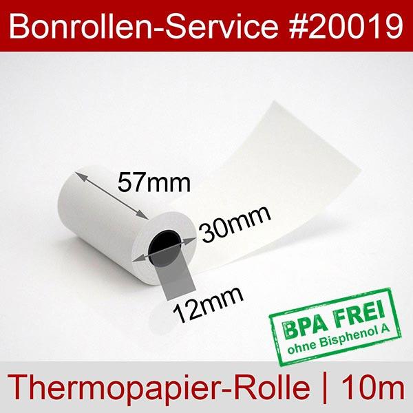 Detailansicht mit Rollenmaßen - Thermorollen / Kassenrollen, BPA-frei 57 / 10m / 12 für Futrex 6100/XL