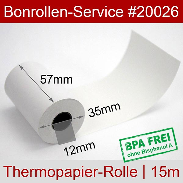 Detailansicht mit Rollenmaßen - Thermorollen / Kassenrollen, BPA-frei 57 / 15m / 12 für Ingenico iWL222