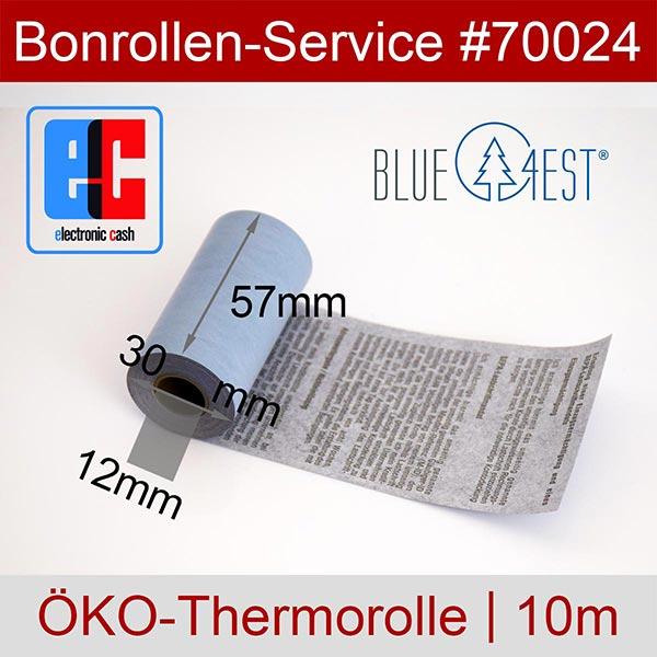 Detailansicht mit Rollenmaßen - Öko-EC-Thermorollen, mit SEPA-Text auf Rückseite, Blue4est® 57 / 10m / 12 für Banksys XENTISSIMO