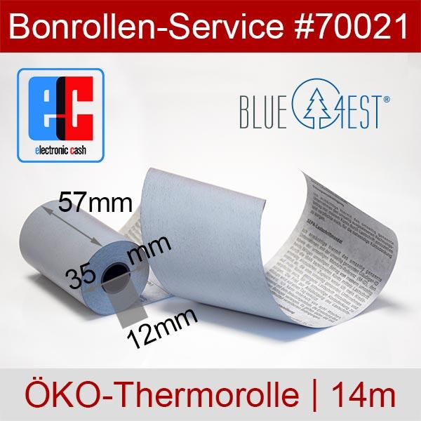 Detailansicht mit Rollenmaßen - Öko-EC-Thermorollen, mit SEPA-Text auf Rückseite, Blue4est® 57 / 14m / 12 für Ingenico iWL222