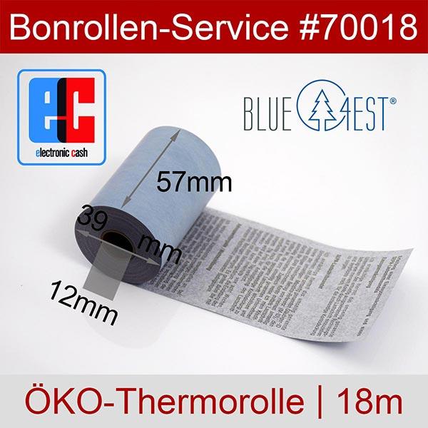 Detailansicht mit Rollenmaßen - Öko-EC-Thermorollen, mit SEPA-Text auf Rückseite, Blue4est® 57 / 18m / 12 für REA-Card REA T6 flex