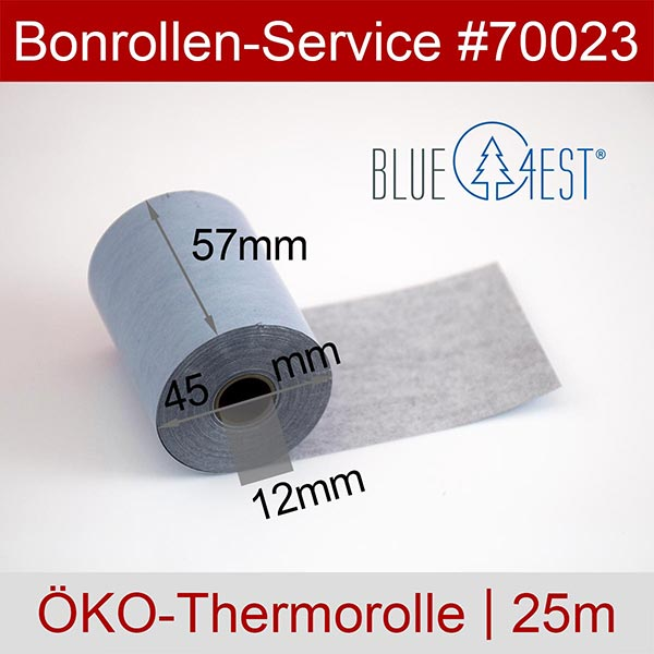 Detailansicht mit Rollenmaßen - Öko-Thermorollen / Kassenrollen, Blue4est® 57 / 25m / 12 für REA-Card REA ECS-HS