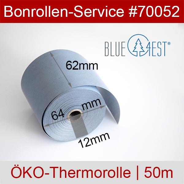 Detailansicht mit Rollenmaßen - Öko-Thermorollen / Waagenrollen, Blue4est® 62 / 50m / 12 für Mettler-Toledo UC3 CT-A