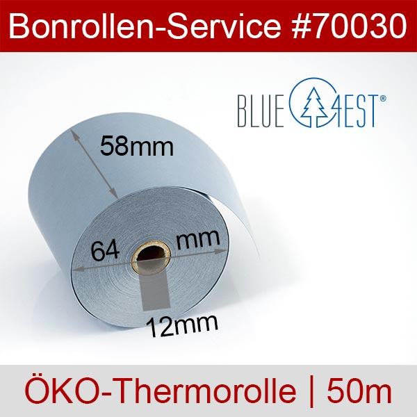 Detailansicht mit Rollenmaßen - Öko-Thermorollen / Kassenrollen, Blue4est® 58 / 50m / 12 für SAM4S ER-260