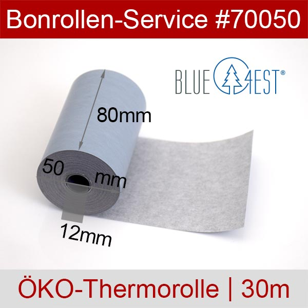 Detailansicht mit Rollenmaßen - Blue4est Öko-Thermorollen 80x30mx12 für Brother RJ-3050