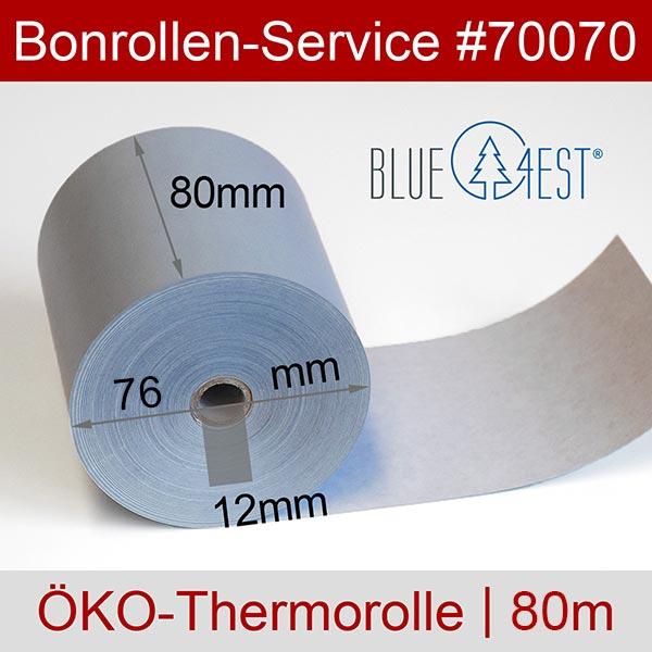 Detailansicht mit Rollenmaßen - Öko-Thermorollen / Kassenrollen, Blue4est® 80 / 80 / 12 für OKI OKIPOS 412E