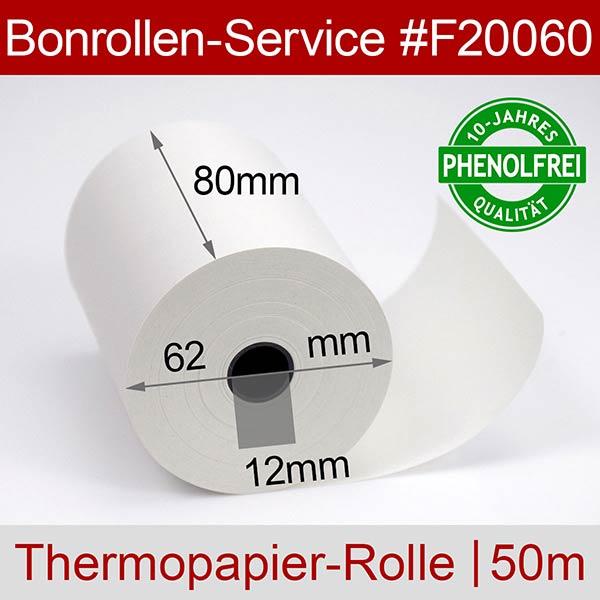 Detailansicht mit Rollenmaßen - Thermorollen / Kassenrollen, phenolfrei 80/50m/12 für Digi RM-5800II-TB