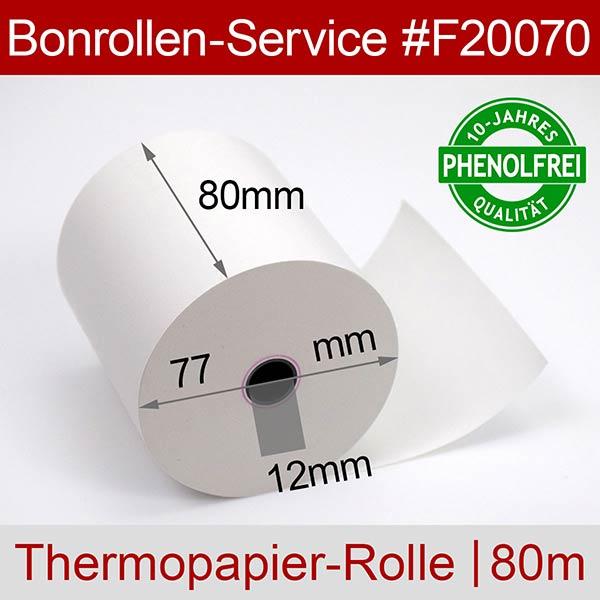 Detailansicht mit Rollenmaßen - Thermorollen / Kassenrollen, phenolfrei 80 / 80m / 12 für Posbank A10-NB