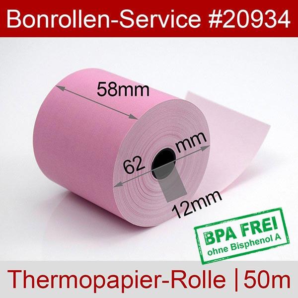 Detailansicht mit Rollenmaßen - Rosa Thermorollen / Kassenrollen, BPA-frei 58 / 50m / 12 für Olivetti ECR 6700