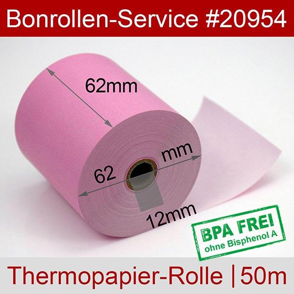Detailansicht mit Rollenmaßen - Rosa Thermorollen / Kassenrollen, BPA-frei 62 / 50m / 12 für Mettler-Toledo UC3 CT-A
