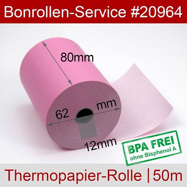 Detailansicht mit Rollenmaßen - Rosa Thermorollen / Kassenrollen, BPA-frei 80 / 50m / 12 für Posbank A10-NB