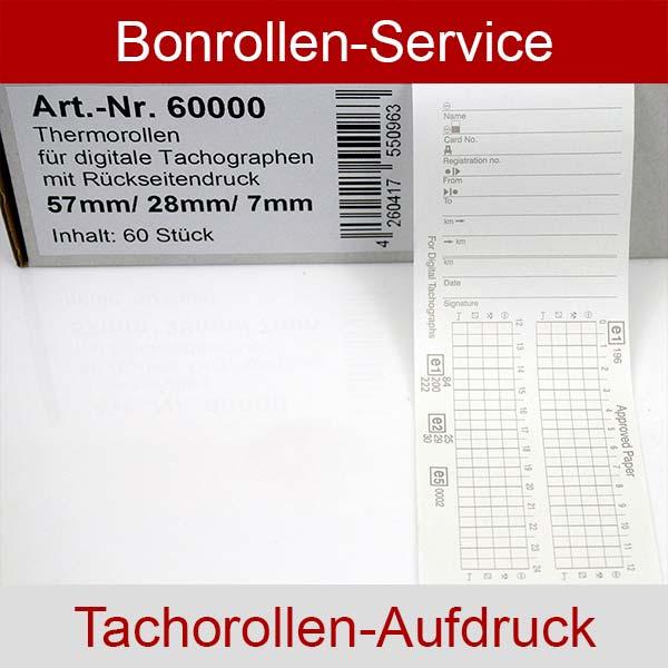 Weitere Informationen zu Tachographenrollen / Tachorollen, 57 / 8m / 7 mit Rückseitendruck für