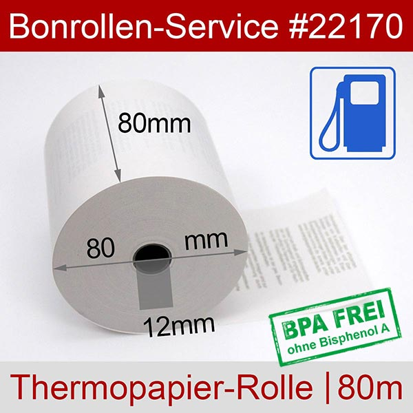 Detailansicht mit Rollenmaßen - Tankstellen-Thermorollen, BPA-frei 80 / 80m / 12 für Posbank A10-NB