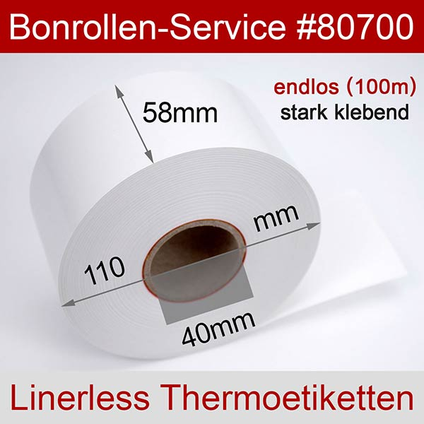 Detailansicht mit Rollenmaßen - Linerless-Thermoetiketten 58 mm x 100 m, endlos, phenolfrei > stark klebend für Albasca RP410