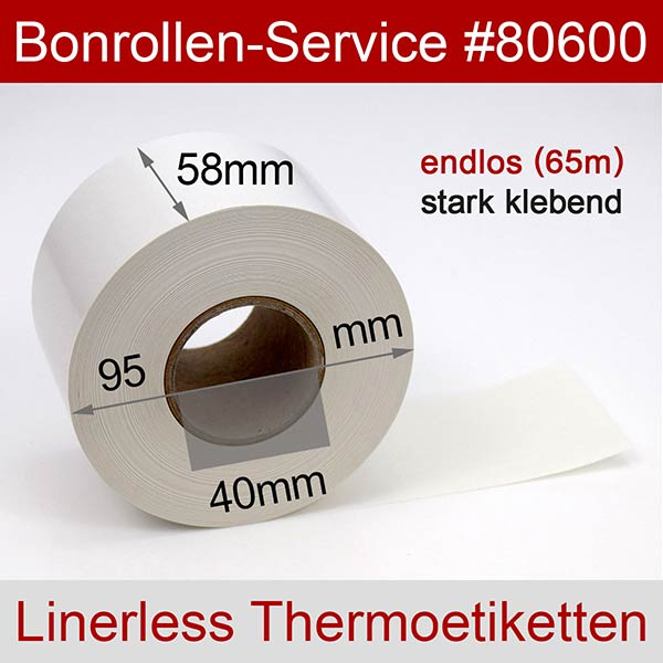 Detailansicht mit Rollenmaßen - Linerless-Thermoetiketten 58 mm x 65 m, endlos, phenolfrei > stark klebend für Albasca RP410