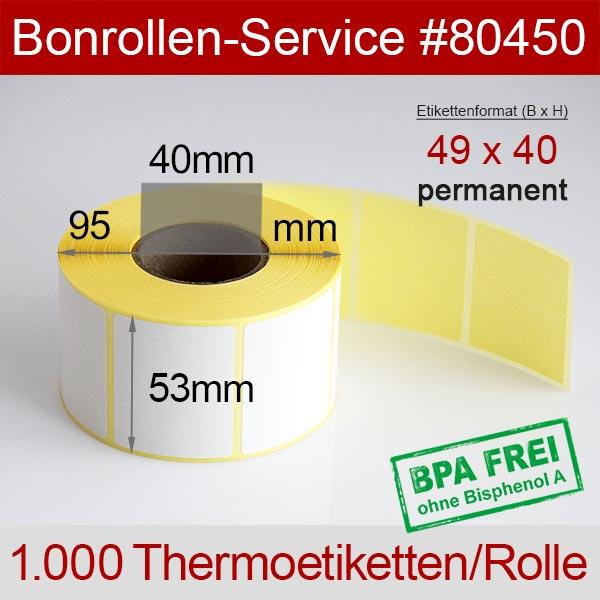 Detailansicht mit Rollenmaßen - Thermo-Etikettenrollen 49mm x 40mm > permanent klebend für Avery-Berkel IM100