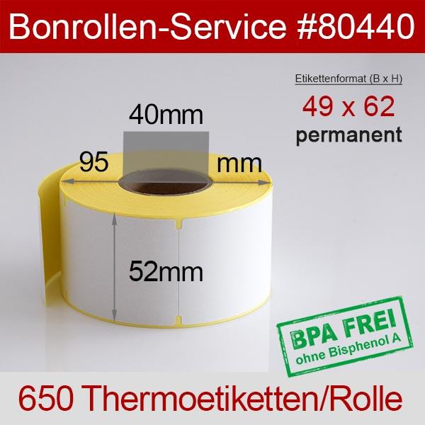 Detailansicht mit Rollenmaßen - Thermo-Etikettenrollen 49mm x 62mm > permanent klebend für Avery-Berkel IM100