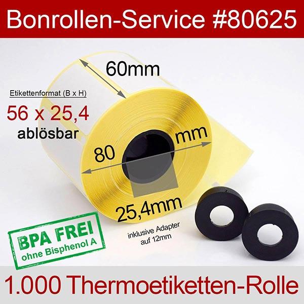 Detailansicht mit Rollenmaßen - Thermo-Etikettenrollen 56 mm x 25,4 mm > ablösbar für Multi-Data SRP-770II