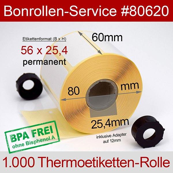 Detailansicht mit Rollenmaßen - Thermo-Etikettenrollen 56 mm x 25,4 mm, BPA-frei > permanent für Albasca RP410