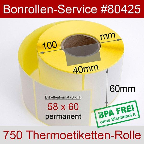 Detailansicht mit Rollenmaßen - Thermo-Etikettenrollen 58 mm x 60 mm > permanent klebend für Albasca RP410