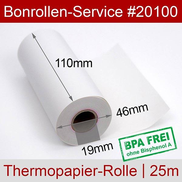 Detailansicht mit Rollenmaßen - Thermorollen / Kassenrollen, BPA-frei 110 / 25m / 19 für Honeywell RP4D