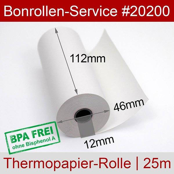 Detailansicht mit Rollenmaßen - Thermorollen / Kassenrollen, BPA-frei 112 / 25m / 12 für Datecs DPP-450