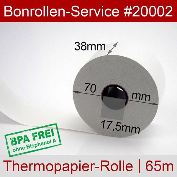 Detailansicht mit Rollenmaßen - Thermorollen / Kassenrollen, BPA-frei 38 / 70 / 17,5 für Quorion CR 28