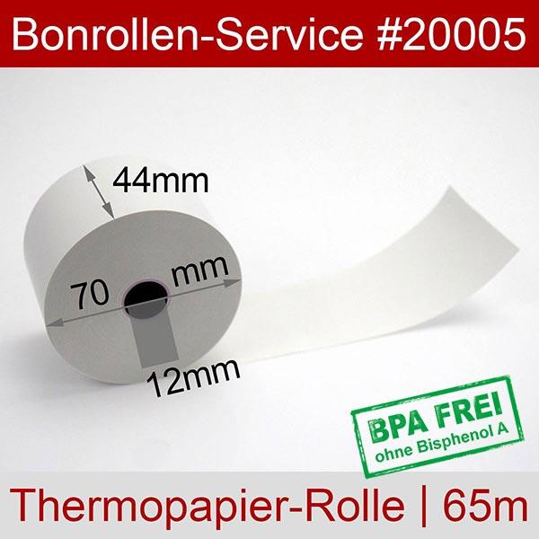 Detailansicht mit Rollenmaßen - Thermorollen / Kassenrollen, BPA-frei 44 / 70 / 12 für SAM4S ER-420M